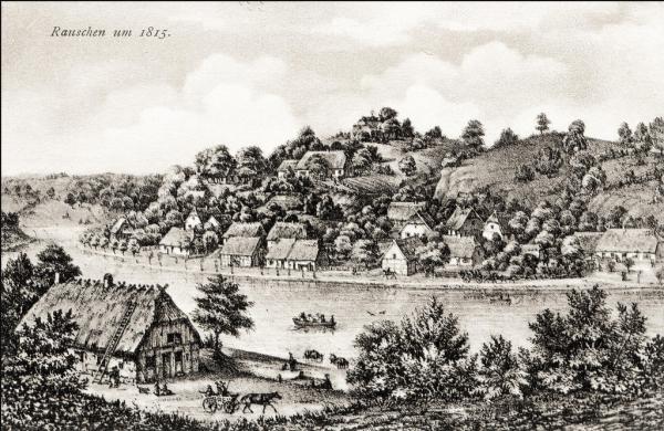 Вид на посёлок Раушен и реку в 1815 году