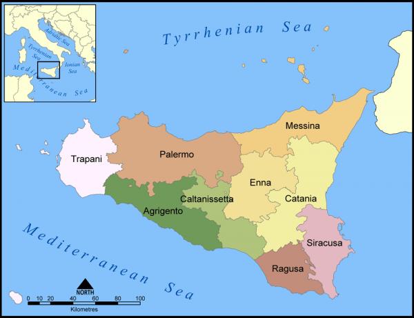 Сицилия на карте мира
