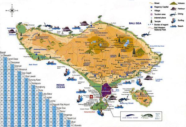 Туристическая карта Бали