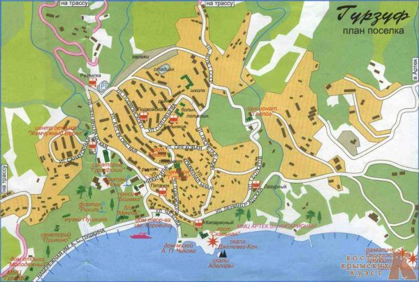 Туристическая карта Гурзуфа