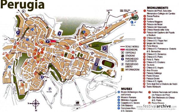 Туристическая карта Перуджи