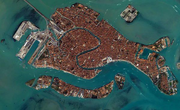 Венецианская лагуна, вид со спутника