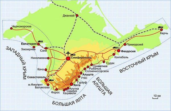 Большая Алушта на карте Крыма