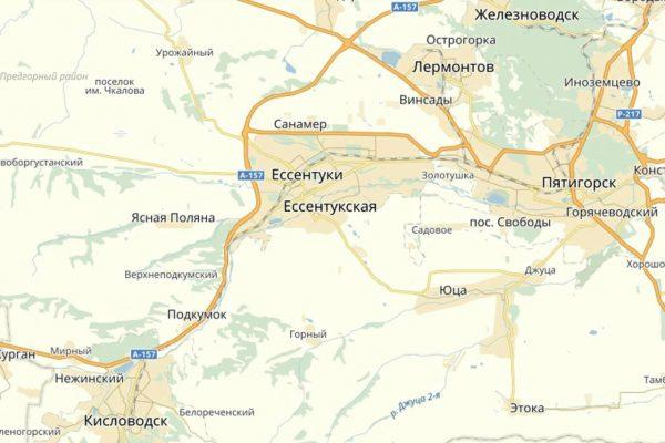 Ессентуки на карте Кавказских Минеральных Вод