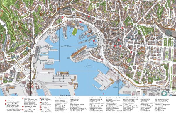 Географическая карта Генуи с отмеченными на ней достопримечательностями