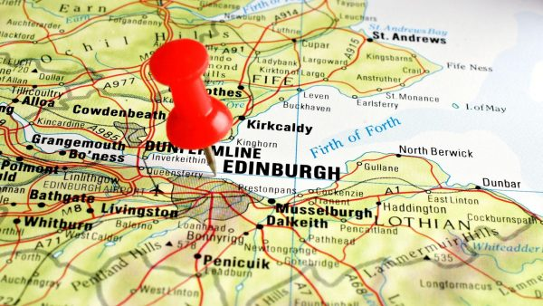 Эдинбург на карте Шотландии