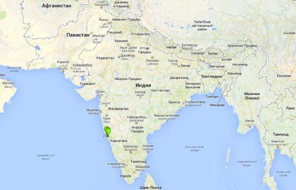 Штат Гоа на карте мира