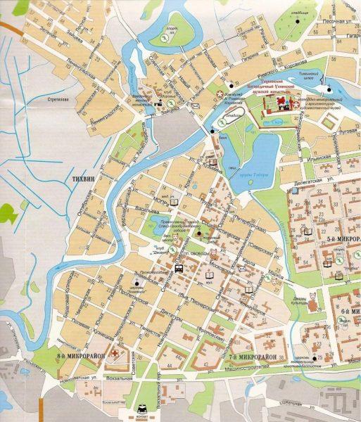 Туристическая карта Тихвина