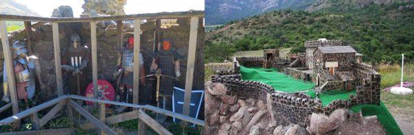 Воссозданные образцы рыцарского снаряжения и макет крепости Фуна