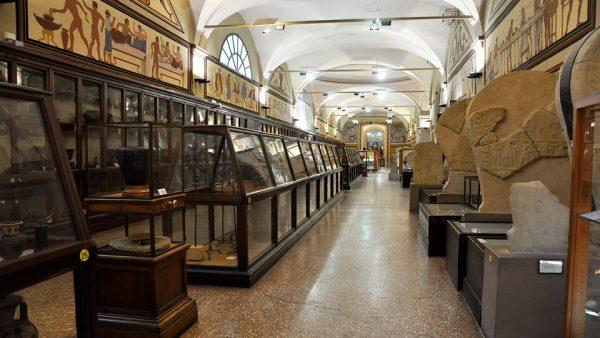 Зал с экспонатами археологического музея в Болонье