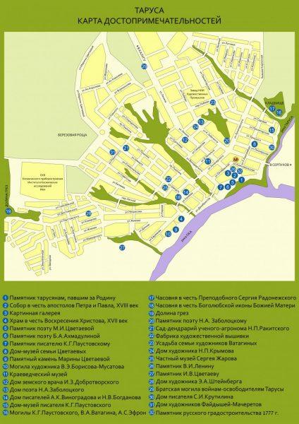 Туристическая карта Тарусы