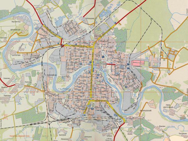 Подробная карта Ржева с достопримечательностями