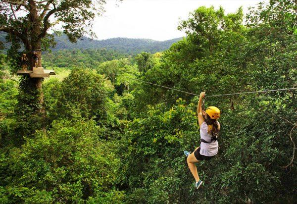 Девушка скользит по металлическому тросу, натянутому над тропическим лесом