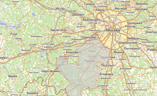 Город Истра на карте Московской области