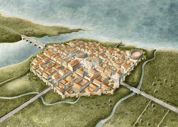 Изображение древнего города Ариминум на старой карте