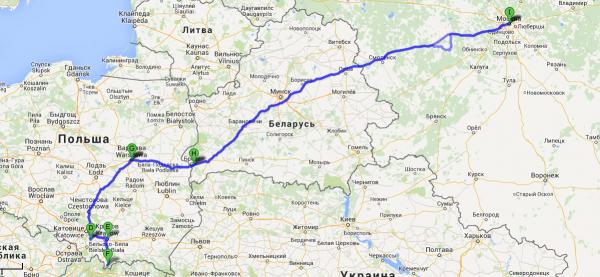 Карта автомобильного маршрута из Москвы в Варшаву
