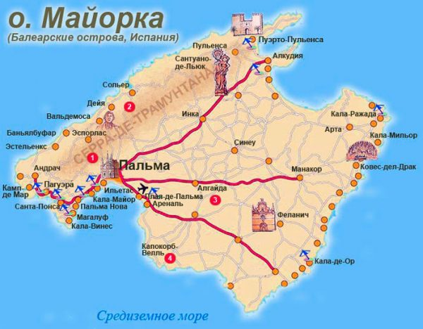 Карта Майорки