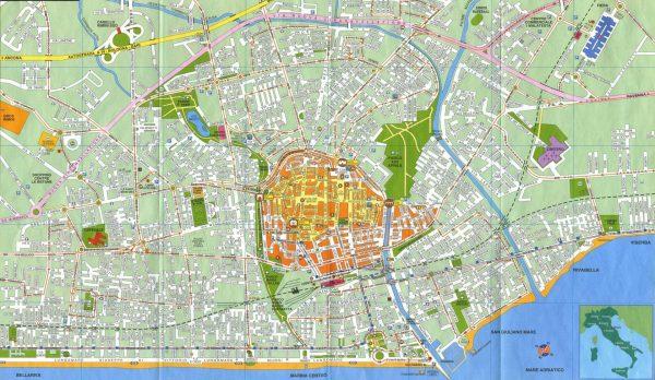 Карта Римини с улицами и достопримечательностями