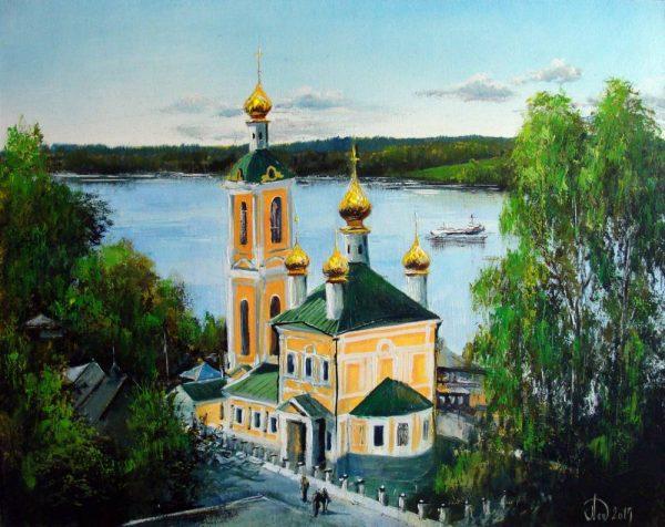 Картина Леднёва «Плёс. Вид на Воскресенскую церковь»
