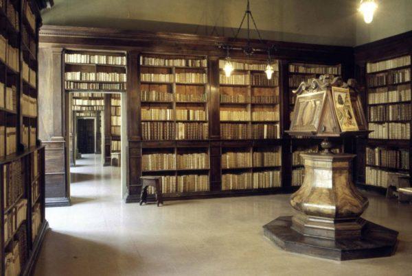 Книги на стеллажах в библиотеке Гамбалунга