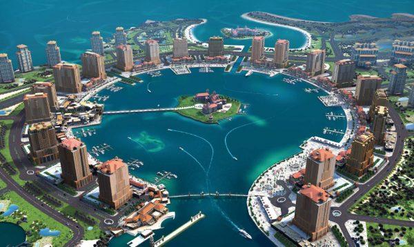 Остров Перл-Катар с небоскребами