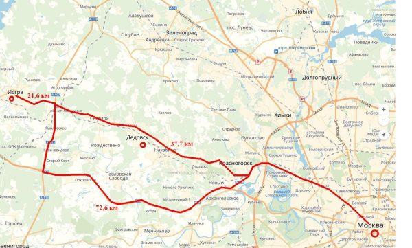 Схема проезда из Москвы в Истру