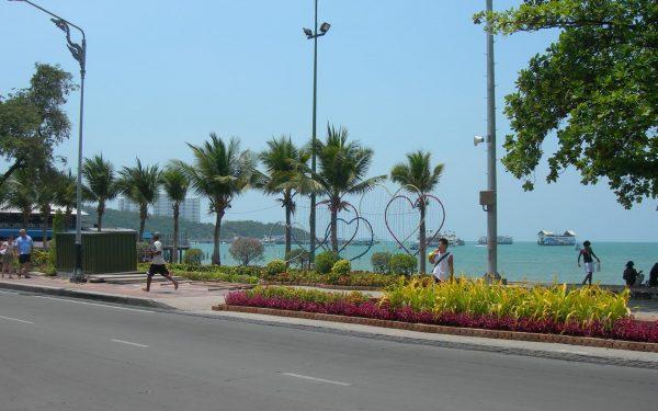 Пальмы и клумбы вдоль набережной Паттайи