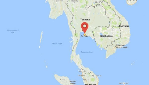 Паттайя на карте Азии