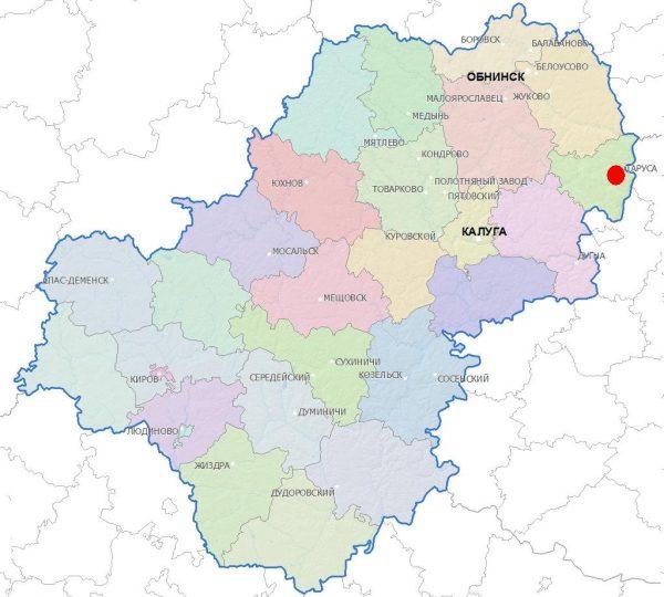 Таруса на карте Калужской области