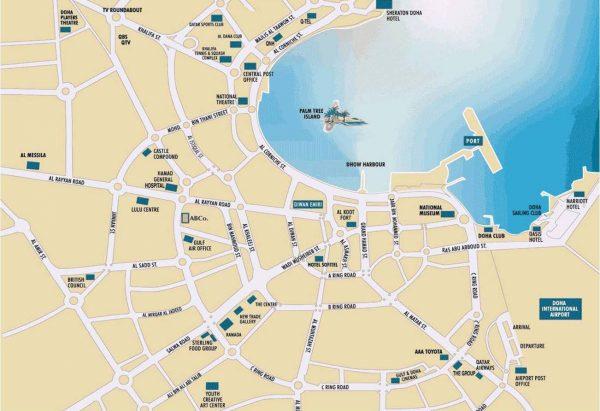 Туристическая карта Дохи с обозначением районов