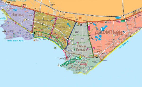 Туристическая карта Паттайи с разделением на районы
