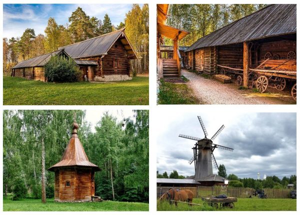 Усадьба Кокориных (дом и подворье), часовня и ветряная мельница в Архитектурно-этнографическом музее деревянного зодчества в Истре