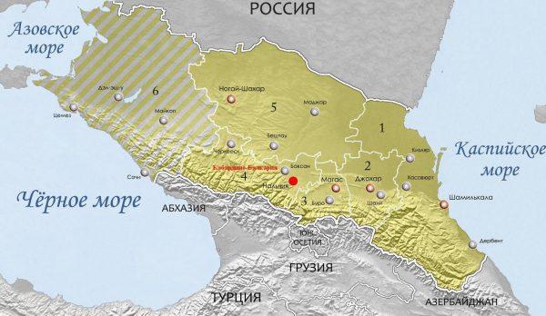 Кабардино-Балкария на карте Северного Кавказа