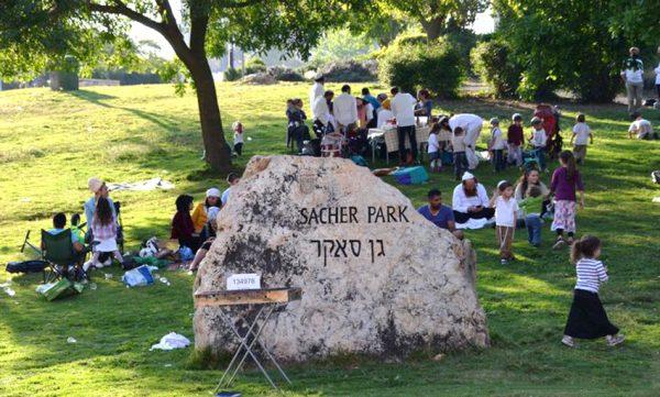 Люди семьями отдыхают в парке Сакер