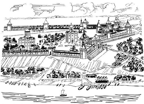 Рисунок древней Рязани с Кремлём