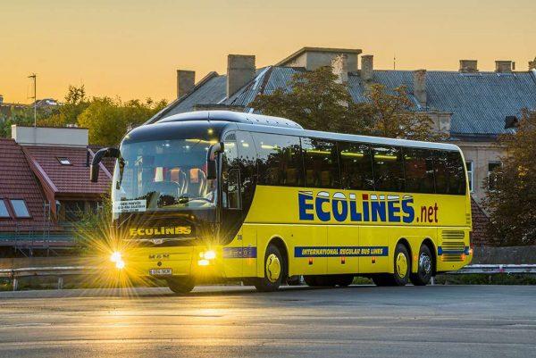 Автобус едет по улице города