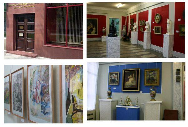 Вход в музей имени Ткаченко, экспозиции скульптур и картин