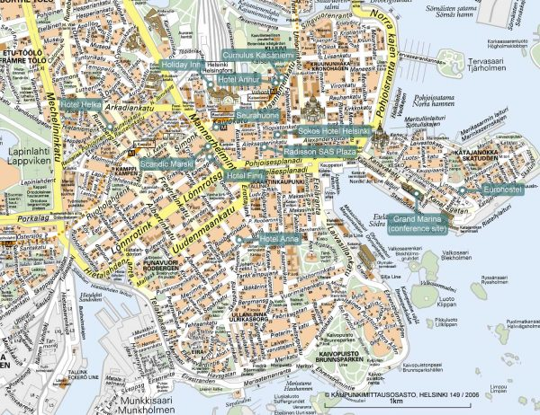 Туристическая карта Хельсинки с отелями