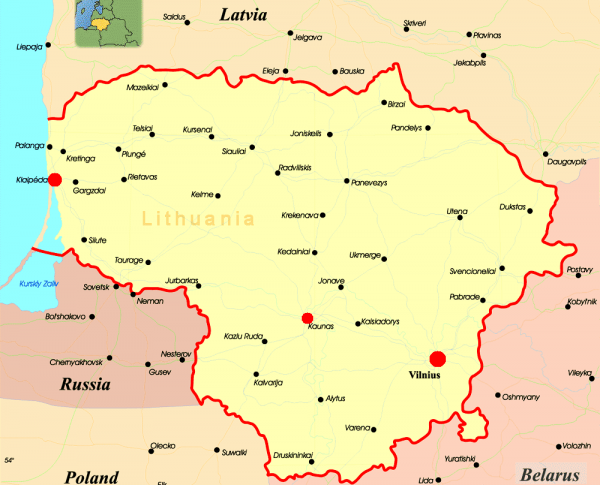 Клайпеда на карте Литвы