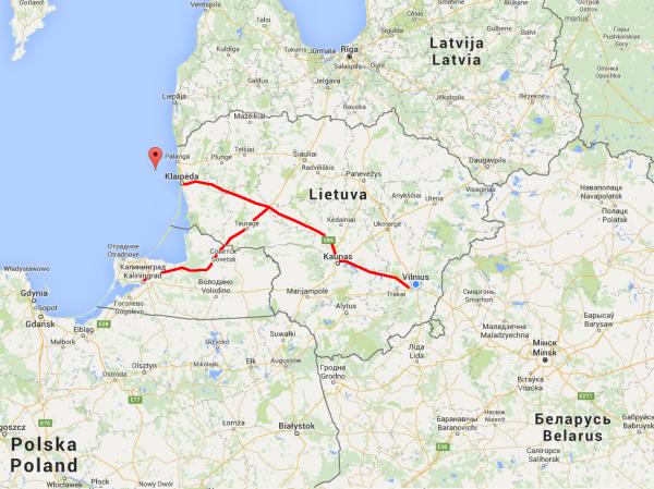 Схема проезда в Клайпеду из Вильнюса и Калининграда