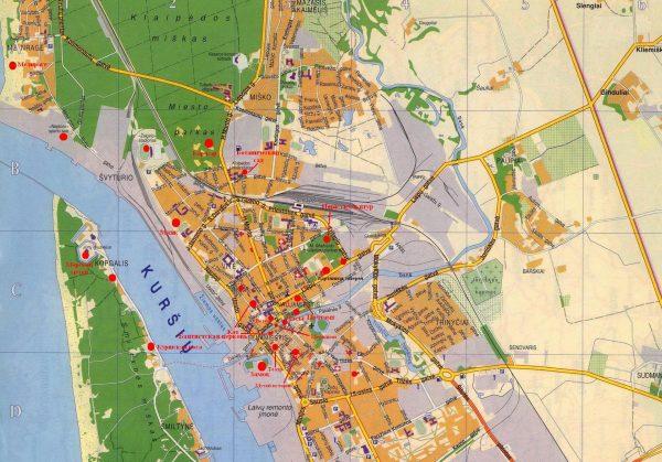 Карта Клайпеды с улицами и достопримечательностями