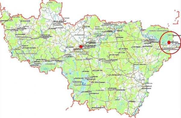 Гороховец на карте Владимирской области