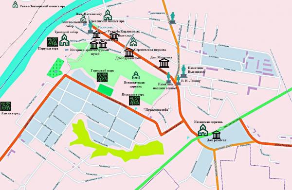 Карта Гороховца с достопримечательностями