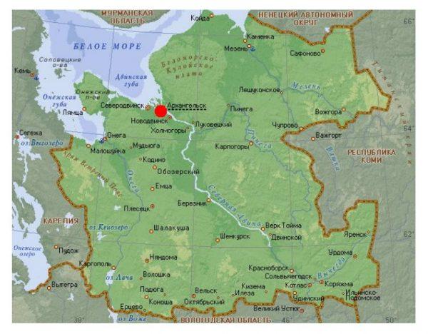 Архангельск на карте Архангельской области