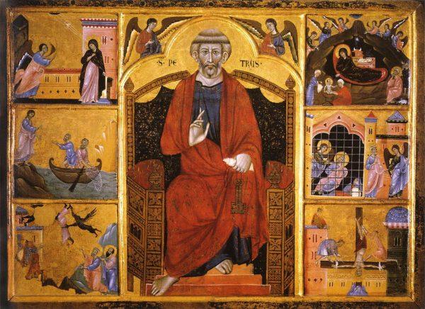 Картина «Святой Петр на троне и евангельские сцены» Гвидо ди Грациано