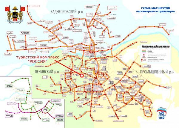 Схема движения городского транспорта в Смоленске