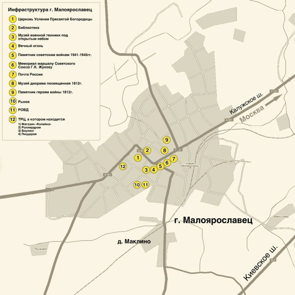 Туристическая карта Малоярославца