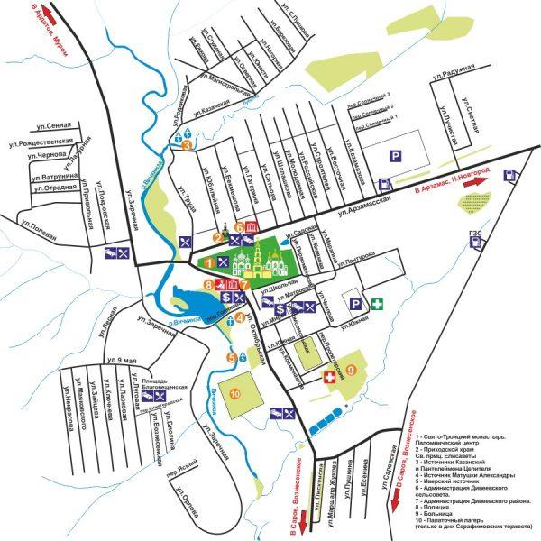 Карта села Дивеево