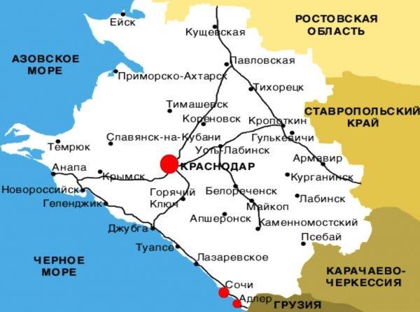 Адлер на карте Краснодарского края