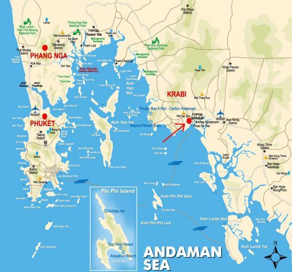 Краби на карте Таиланда